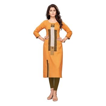 Orange plain cotton ethnic-kurtis