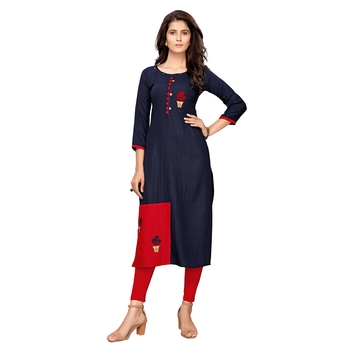 Blue plain cotton ethnic-kurtis