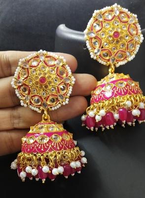 Deepika AD Pearl Ruby Pink Jhumki Earrings Set