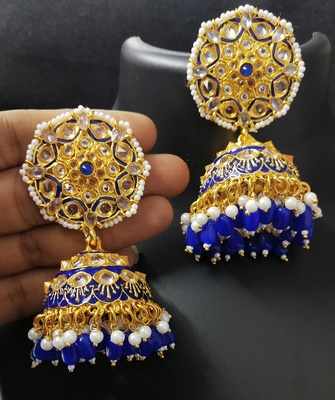Deepika AD Pearl Royal Blue Jhumki Earrings Set