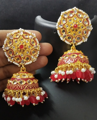 Deepika AD Pearl Bridal Red Jhumki Earrings Set