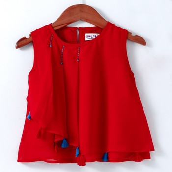 Trendy Georgette Layered Top with tassles and Emb - Red