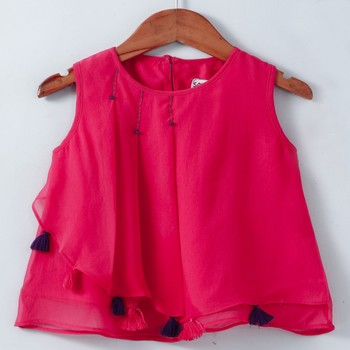 Fuschia Trendy Georgette Layered Top with tassles and Emb