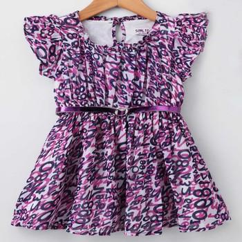 Purple Trendy Printed Georgette Ruffle Sleeve Dress with Belt