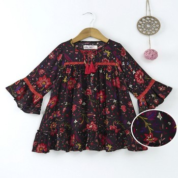 Black Trendy Full sleeves printed dress with lace inserts and tassles