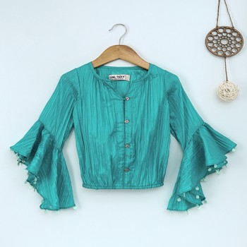 Teal Trendy & stylish  two tone art silk top with ruffle slv and embelllished sleeve hem