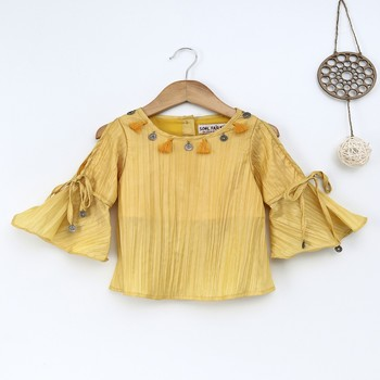 Yellow Trendy  two tone art silk  cold shoulder tie up slv  top with tassle embroidery