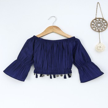 Blue Trendy  two tone art silk crop top with flared sleeves