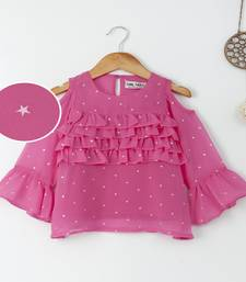 Pink Trendy front ruffle  cold shoulder foil printed georgette top with inner