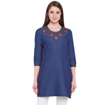 Blue embroidered cotton kurtasandkurtis