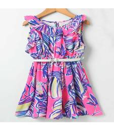 Pink Trendy Printed Neck Ruffle Dress with Belt