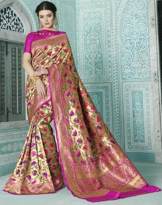 Gold woven banarasi saree with blouse
