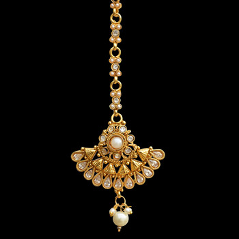 Traditional Indian Bollywood Hair Jewelry Pearl Polki Maang Tikka