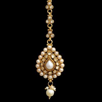 Ethnic Indian Bollywood Hair Jewelry Gold Finish Maang Tikka