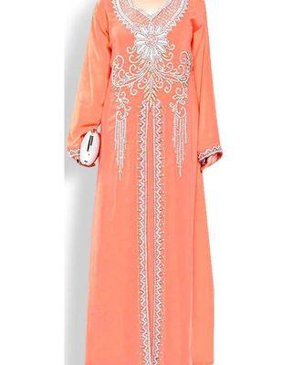 peach georgette embroidered zari work islamic kaftans