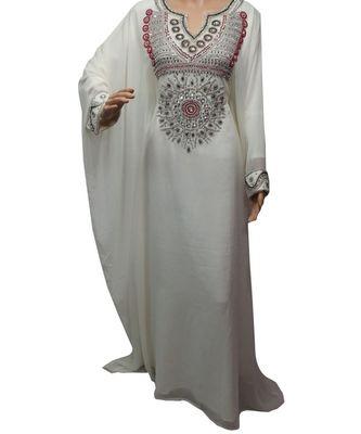 white georgette embroidered zari work islamic kaftans