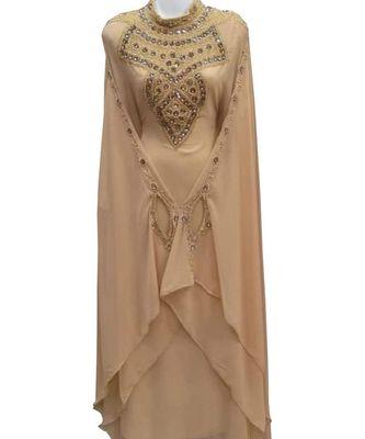 beige georgette embroidered zari work islamic kaftans