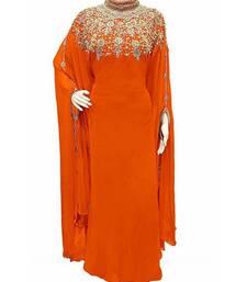 orange georgette embroidered zari work islamic kaftans
