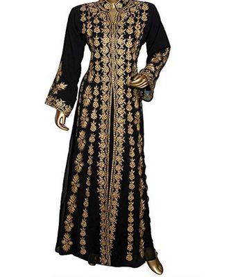 black georgette embroidered zari work islamic kaftans