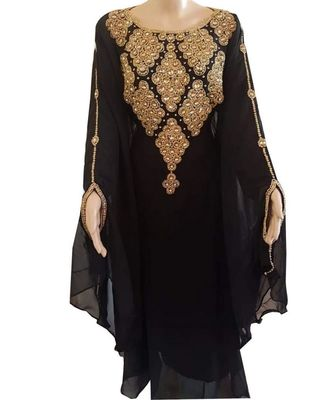 black georgette embroidered zari work islamic kaftans
