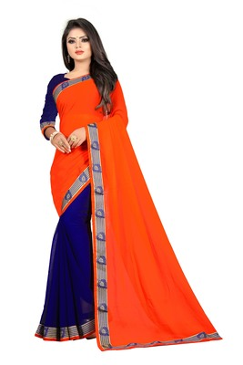 Orange plain georgette saree with blouse