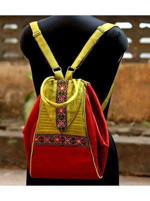 Maroon And Yellow Green Coloured Mashru Silk College Bag