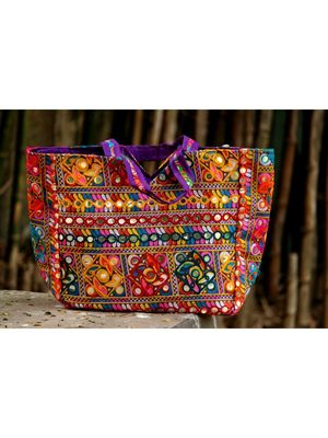Aari Worked Foil Patched Purple Colored Banjara Tote Bag With Non Adjustable Dori