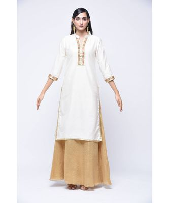 White floral print Cotton stitched kurta sets