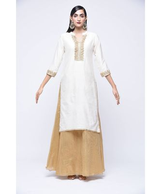 White floral print Cotton stitched kurta sets