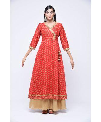 Red block print Cotton stitched kurta sets