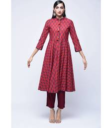 Red block print Cotton stitched kurta sets