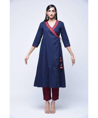 Blue floral print Cotton stitched kurta sets
