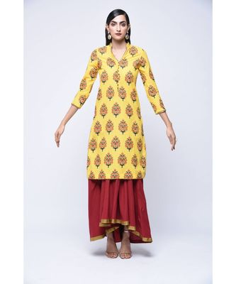 Yellow block print Cotton stitched kurta sets