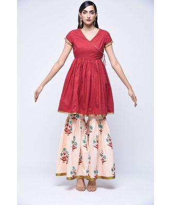 Red floral print Cotton stitched kurta sets