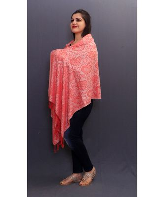 Delicate Wrap Along With Peach Base And Paisleys Looks Elegant When Team Up With Denims Or Suit.