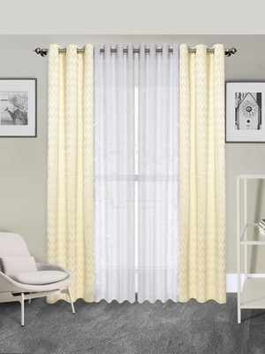 ROSARA HOME Pack of 4 Eyelet Polycotton Door Curtains