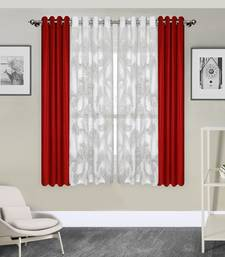 ROSARA HOME Pack of 4 Eyelet Polyester Window Curtains-5 feet