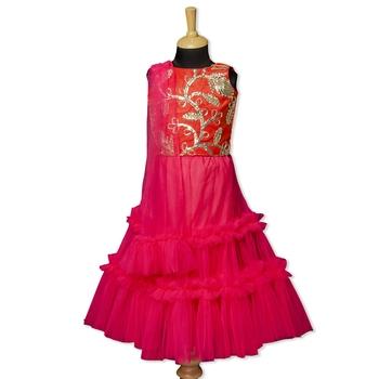 Pink & White Barbie By Indo Western Lehenga Choli With Dupatta