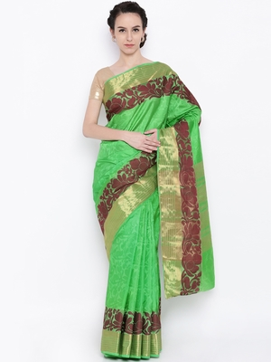 CLASSICATE From The House Of The Chennai Silks Women's Green Jute Saree With Blouse
