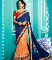 Buy Blue & Orange embroidered georgette saree with blouse wedding-saree online