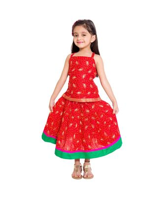 Red Baby Girls Skirt and Top Self Design Hand Block Print