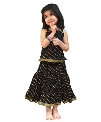Black Baby Girls Skirt and Top Self Design Hand Block Print