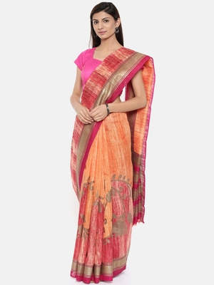 CLASSICATE From The House Of The Chennai Silks Women's Orange Dupion Saree With Blouse