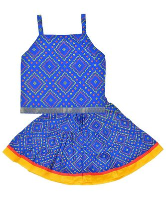 Bhandhej Block Print Cotton Baby Girls skirt & Top