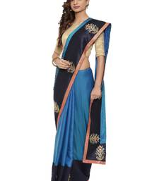 CLASSICATE From The House Of The Chennai Silks Women's Blue Raw Silk Saree With Blouse