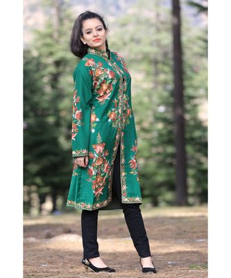 Green Colour New Look With High Quality Wool Aari Work Women Jacket