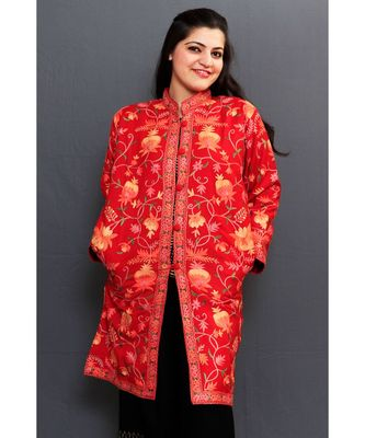 Maroon Colour Kashmiri Aari Work Embroidered Jacket With Beautiful Designer Jall Pattern