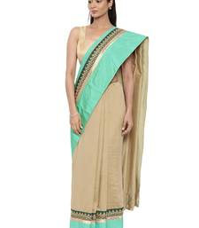 CLASSICATE From The House Of The Chennai Silks Women's Beige Raw Silk Saree With Blouse