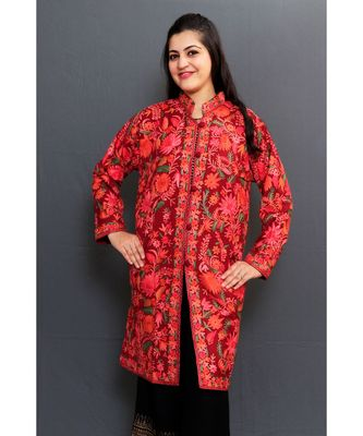 Bright Maroon Colour Kashmiri Aari Work Embroidered Jacket With Beautiful Designer Jall Pattern