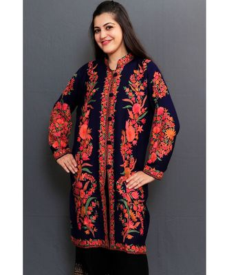 Navy Blue Colour Kashmiri Aari Work Embroidered Jacket With Beautiful Bail And Border On Openings.